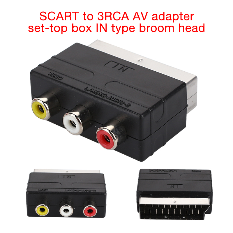 Plastic Black Scart Male To 3RCA Female Adapter Household Projector Plug Simple Connection DVD Video Scart Male To 3-RCA Female