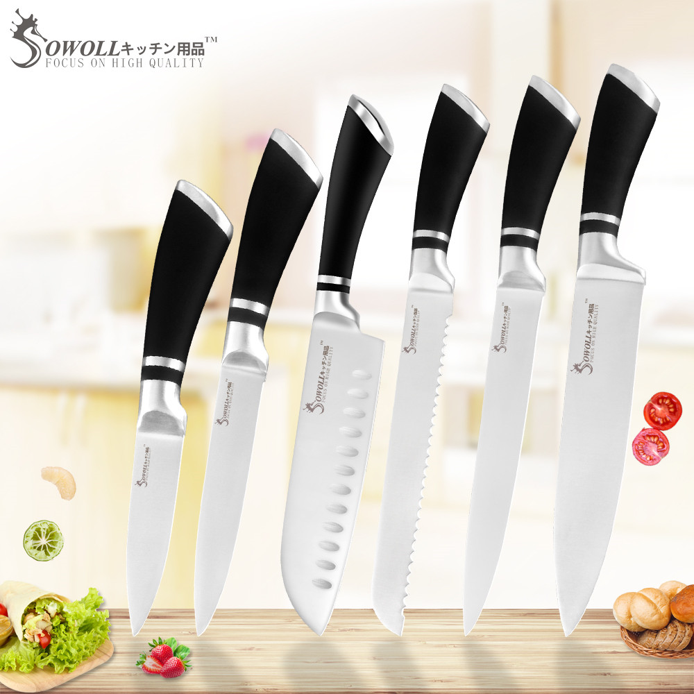 SOWOLL Knife-Set Cooking-Knives Chef Black-Handle Stainless-Steel Kitchen 3cr13 Sharp