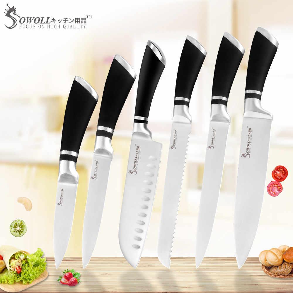 SOWOLL couteaux de cuisine acier, ensemble de couteaux de cuisine en acier inoxydable 3Cr13 lame tranchante ustensiles Chef à manche noir pas cher qualité supérieure 6 pièces