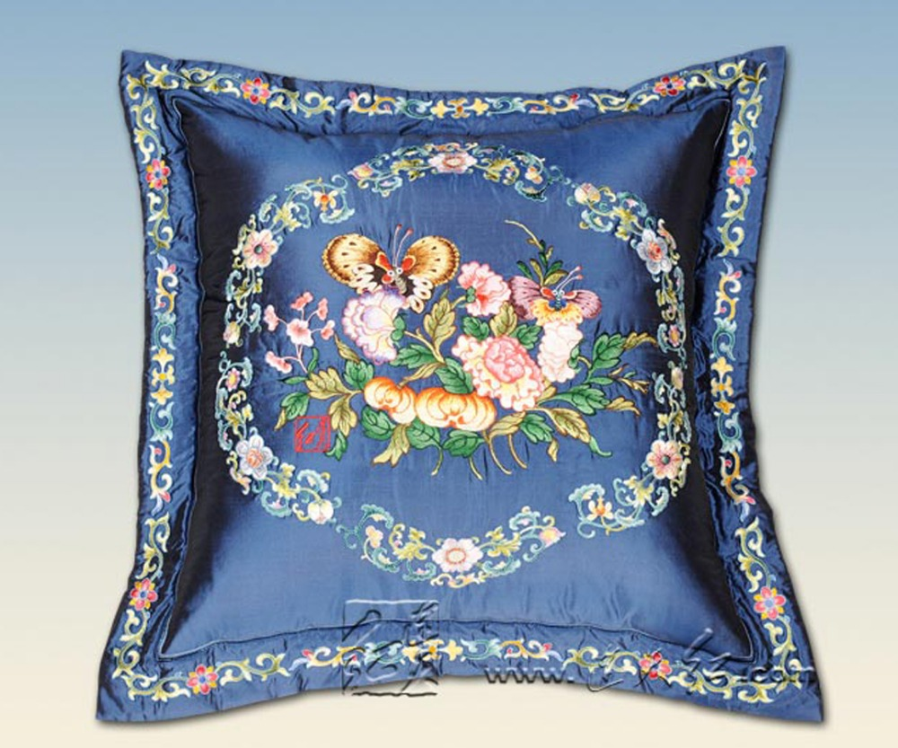 Big Sofa Back Cushions Us 141 55 5 Off Square 67 67cm Big Sofa Back Cushions Home Decorative Embroidery Chair Cusion Blue Field Flower Bedding Car Seat Lumbar Pillows In