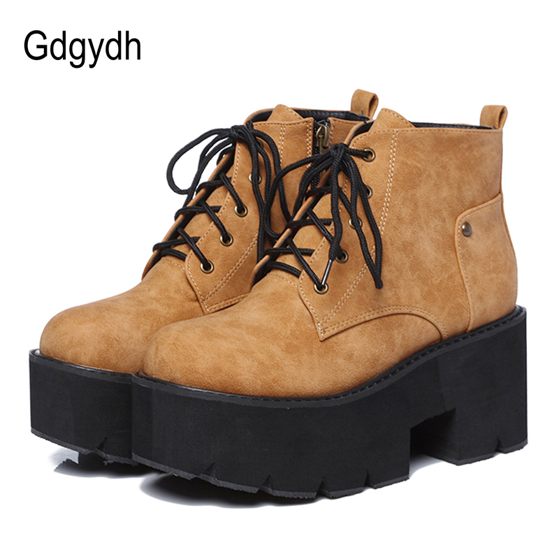 Gdgydh 2019 New Spring Platform Boots Woman Chunky Heel Punk Gothic Boots Lace Black Brown Ankle Boots Women Comfortable Leather-in Ankle Boots from Shoes    1