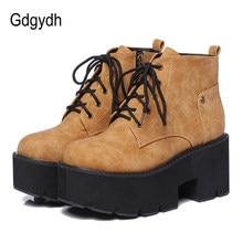 Gdgydh – bottes de printemps à plateforme pour femme, style gothique, Punk, à talons épais, en dentelle, noires, brunes, confortables, en cuir, nouvelle collection 2021
