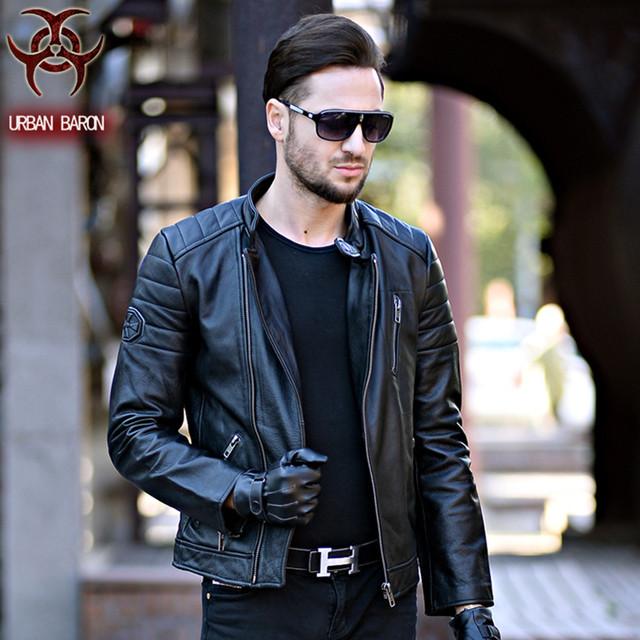 2017 David Beckham Leather Biker Jacket Black Stand Collar Oblique Zipper Genuine Cowskin Men Winter Slim Fit Motorcycle Coat