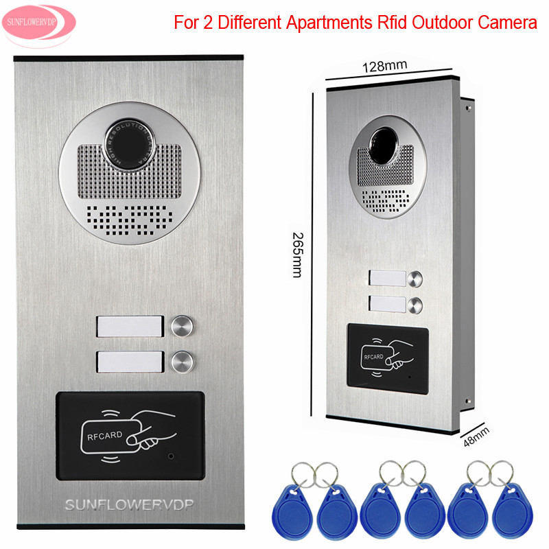 Video-Eye 2 Buttons For 2 Apartments Access Control Rfid Unlock Video Intercom Camera For Doorphone Outdoor CCD Camera Intercom access control function video door phones intercom systems for 5 apartments with five 7 lcd and 5 buttons outdoor camera