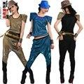 Nueva Marca Jazz harén mujeres pantalones de hip hop danza disfraces Pantalones deportivos pantalones determinados de la Ropa + camiseta top
