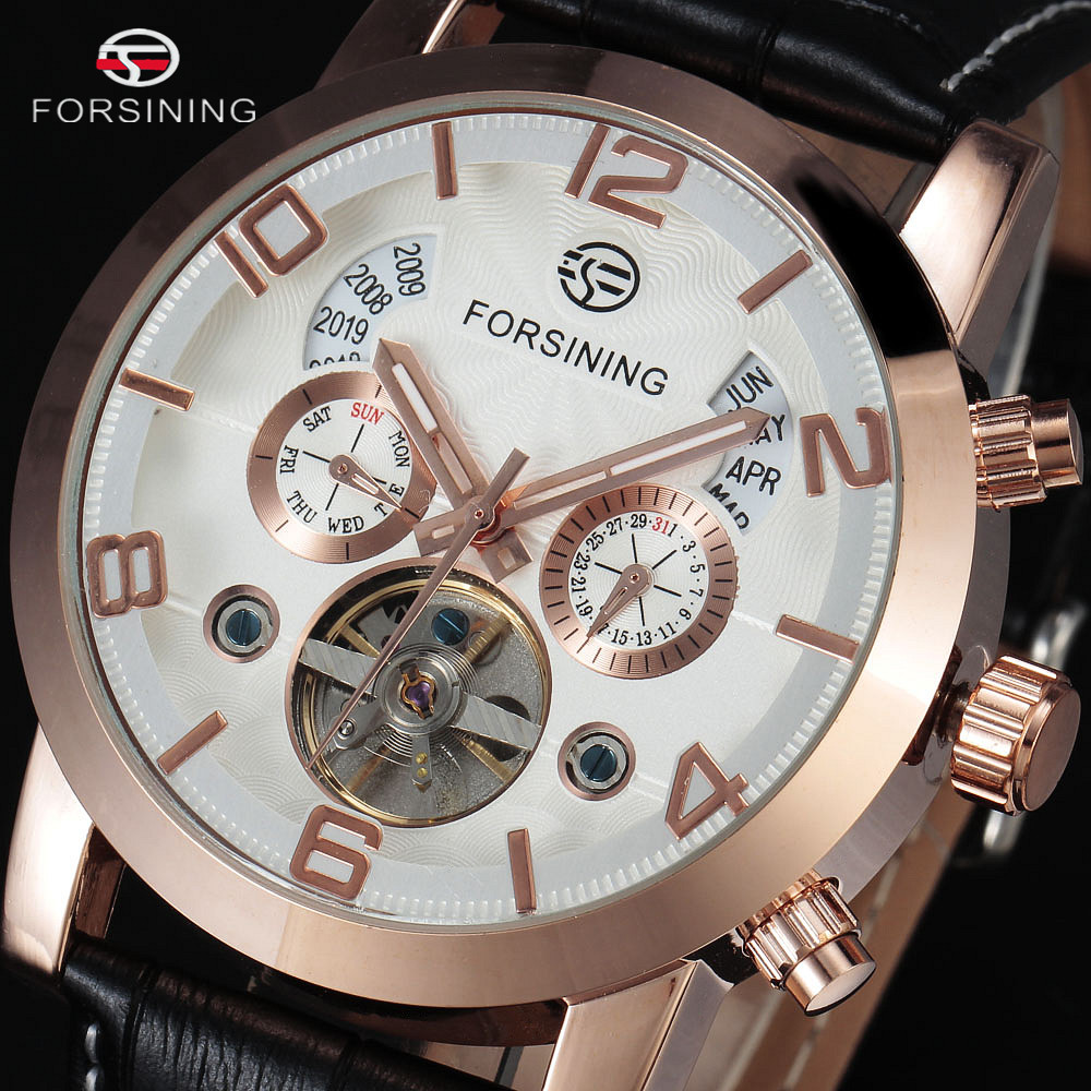 FORSINING Tourbillon Wrap Mens Watches Top Brand Luxury Automatic Watch Golden Case Calendar Male Clock Black Mechanical Watch forsining date month display rose golden case mens watches top brand luxury automatic watch clock men casual fashion clock watch