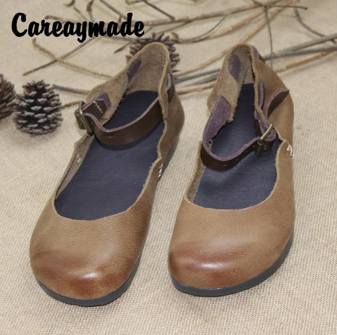 Careaymade-100% Cowhide Innovative Shoes,the retro art mori girl Pure handmade leisure comfortable flat shoes,Lazy fashion shoes