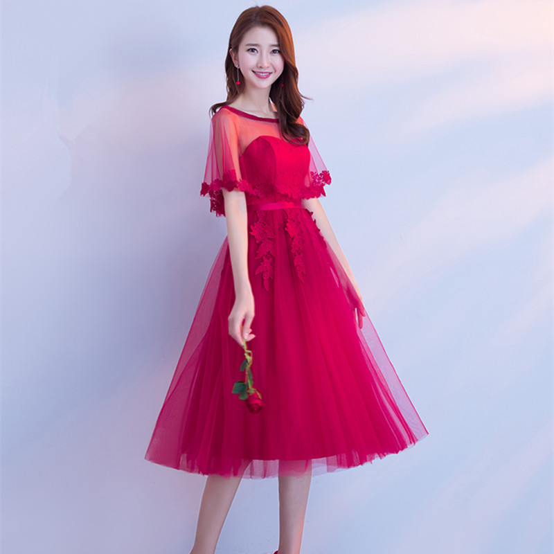 JYX79P#Strapless shawl lace up Medium long style wine red Bride's   Evening     dresses   Classmate party prom   dress   2018 new Custom