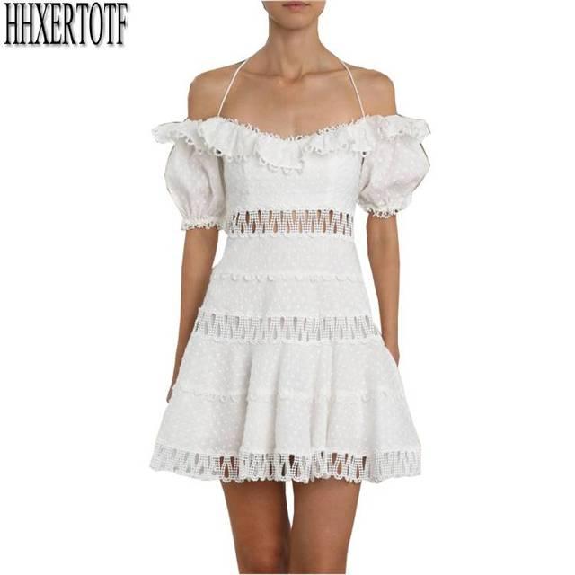 b5014dbfe8c8 New Runway Womens Elegant Halter Neck Summer Dress White Sexy Lace Off  Shoulder Short Sleeve Slim Holiday Party Dresses Vestidos