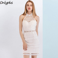 ONLYPLUS White Lace Midi Summer Dress Elegant Sexy Halter Neck Sleeveless Solid Party Dress for women bodycon dress midi