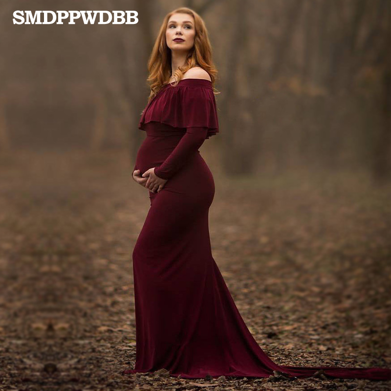 SMDPPWDBB Maternity Dresses Photography Props Maternity Photography Props Long Sleeve Founces Women Dresses Plus Size Long Tail ...