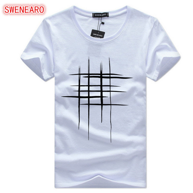 Simple creative design line cross Print cotton T Shirts Men's New Arrival Summer Style Short Sleeve Men t-shirt