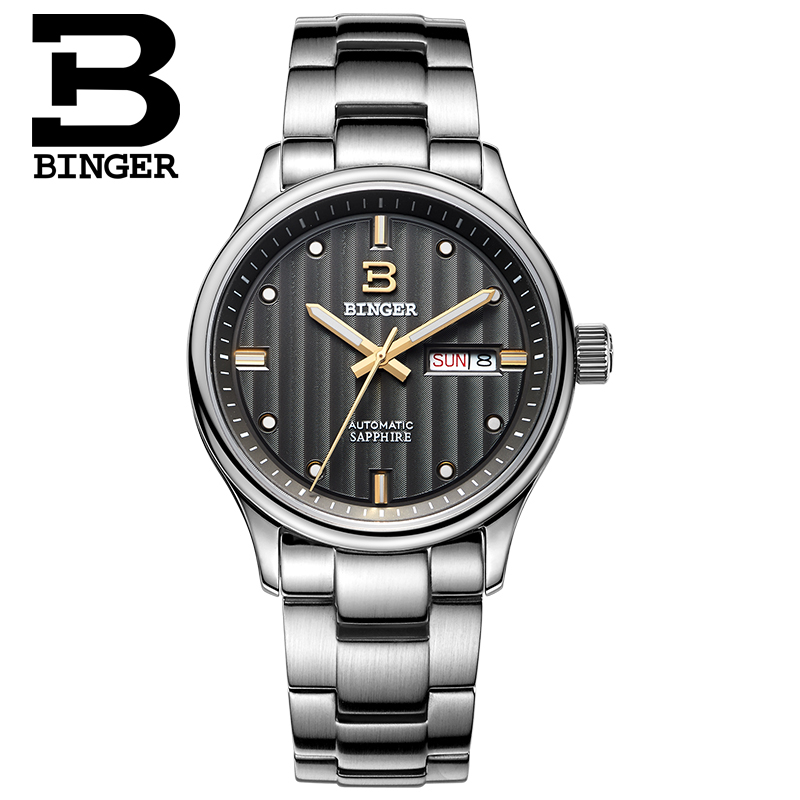 สวิสเซอร์แลนด์นาฬิกาผู้ชายแบรนด์หรูนาฬิกา BINGER ธุรกิจนาฬิกากลไกอัตโนมัติชายนาฬิกาไพลินเต็มรูปแบบสแตนเลส B5006 9-ใน นาฬิกาข้อมือกลไก จาก นาฬิกาข้อมือ บน   3