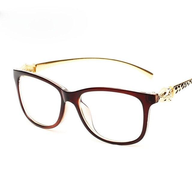 8f4117a6c Elegante das Mulheres Cabeça de Leopardo Óculos de Armação de Óculos  Ópticos Quadros Para As Mulheres