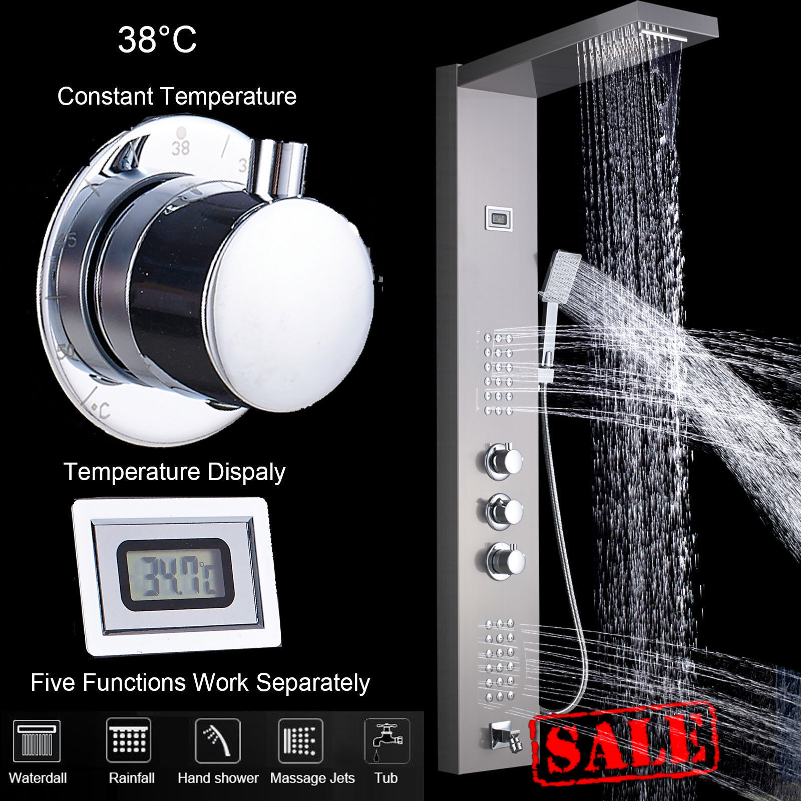 купить Brushed Nickel Thermostatic Shower Faucet Panel Stainless Steel Rain Waterfall Shower Panel Tower Rain Massage Jets Tub Spout онлайн