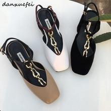 4 Color plus size 33-40 women's genuine leather t-strap flat