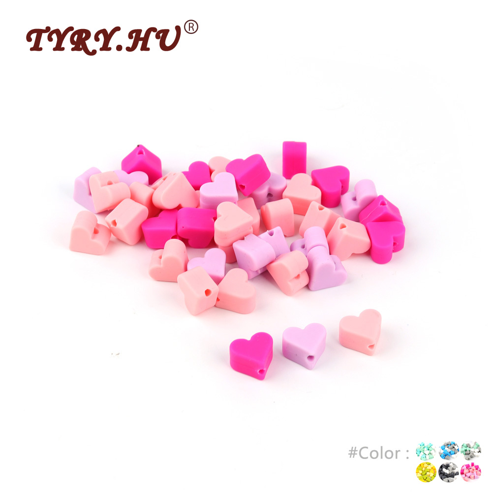 TYRY.HU 15Pcs Heart Silicone Beads BPA Free Baby Tooth Care Products Accessories DIY Clips Soother Chain Toy For Infant Newborn