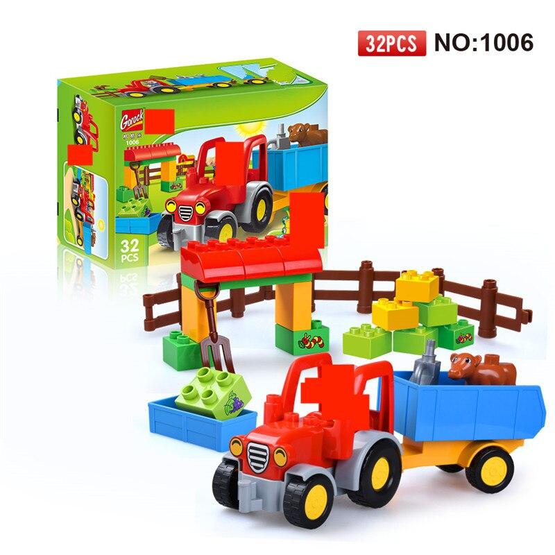 Happy Farm Large Building Blocks Sets Friends Figures Animal DIY Baseplate LegoINGLs Duplo Bricks Educational Toys For Children
