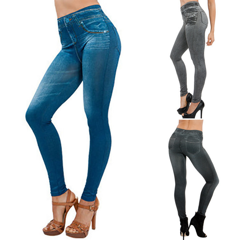 5XL Plus Size Jeggings Jeans For Women Seamless Denim Leggings Push Up Elasticity Pants High Waist False Pockets Printed Leggins