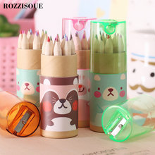 12 Pcs/lot Rainbow Pencil Colour Pencils for Kids Stationery Items Drawing Supplies Cute Bear School Colored