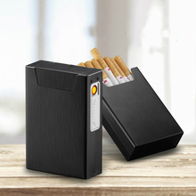 2-in-1 Metal Cigarette Case Box Lighter for Smoking Flameles