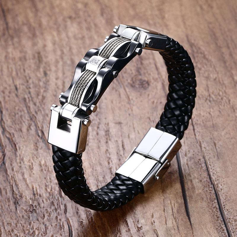 Mens Braided Leather...