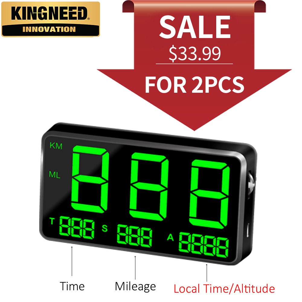 Kingneedc80 Gps Speedometer Hud Show Automotive Hud With Overspeed Alarm Altitude Driving Time Bike Digital Automotive Clock Odometer
