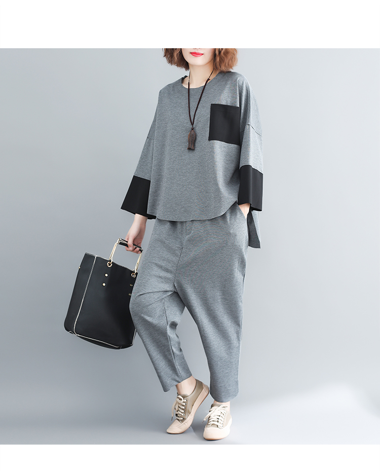 plus Size Mori Girl Grey Two Piece Sets Women Color-blocked Tops And Harem Pants Suits Casual Loose Women's Sets Feminino Mujer 42