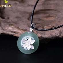 Женское ожерелье с подвеской в виде цветка лотоса из серебра
