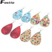 Fostfo Christmas Pattern Leather Big Water Drop Dangle Earrings For Women Fashion TearDrop Earrings Jewelry 10 style