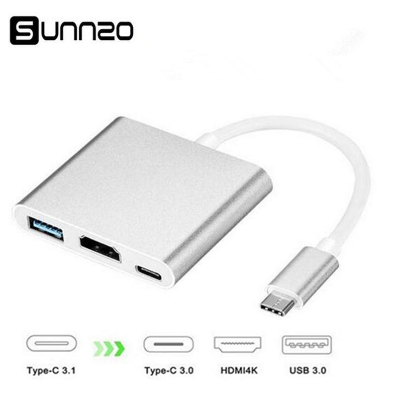 Tipo C a HDMI adaptador USB-C a HDMI + USB 3,0 + USB-C carga convertidor Multiport Hub 4 K 2 K para Macbook Chromebook Dell XPS13