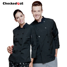 Hot Checked out long sleeved cook suit autumn and winter work uniform chef jacket black doutble breasted  working clothes