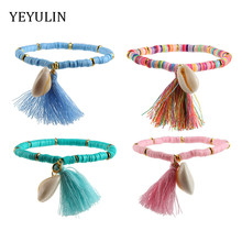 Multicolor Bohemian Shell Tassel Bracelet 7 Colors Ehthic Beach Boho Cotton Rope Chain Woven For Women
