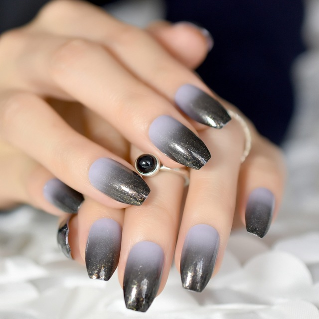 Aliexpress.com : Buy Gradient Black Grey Coffin Nails ...