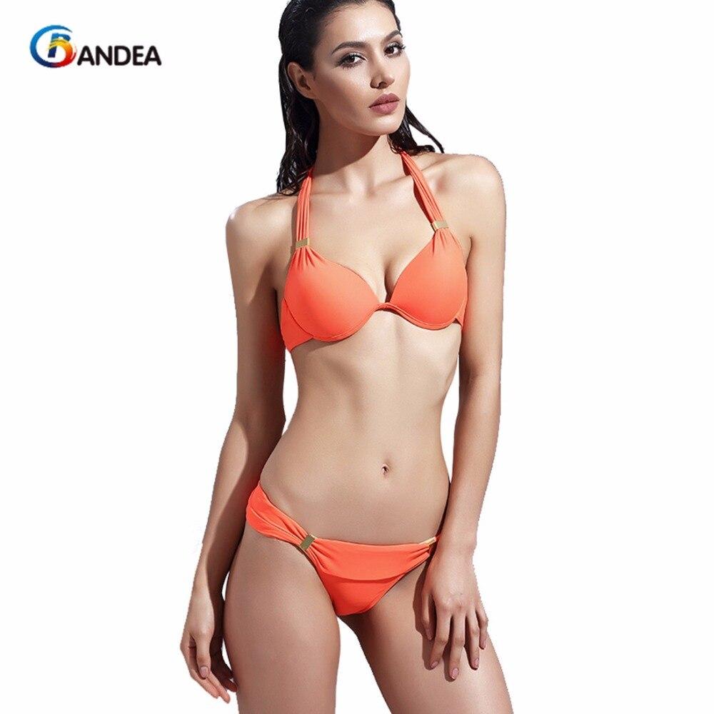 bandea donne halter costumi da bagno arancione bikini costume da bagno sexy push up bikini vita