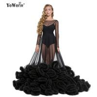 sexy Deep pink Black see though royal blue Cloud Long sleeves wedding dress robe de mariee wedding gowns 2018 vestidos de noche