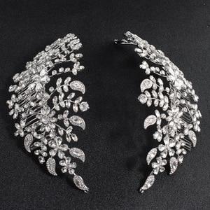 Image 1 - Klasik şeffaf kristaller Rhinestone büyük gelin düğün kafa bantları saç Combs kadınlar Tiara ayarlanabilir saç takı başlığı HG085
