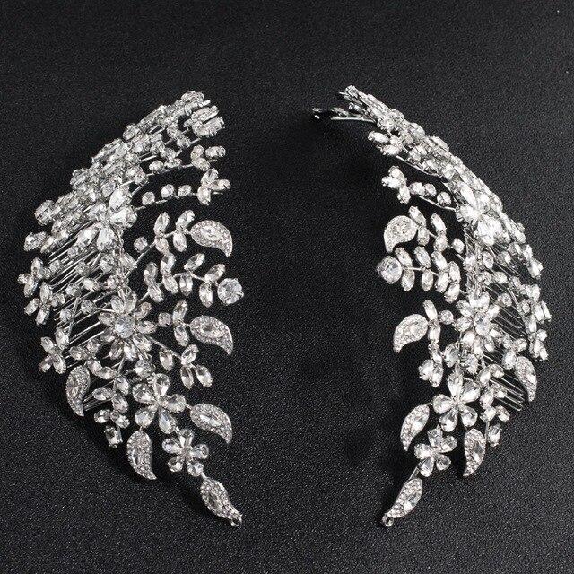 Klasik şeffaf kristaller Rhinestone büyük gelin düğün kafa bantları saç Combs kadınlar Tiara ayarlanabilir saç takı başlığı HG085