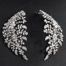 Klasyczne jasne kryształy Rhinestone duża weselna opaski do włosów grzebienie do włosów kobiety Tiara regulowana biżuteria do włosów chluba HG085