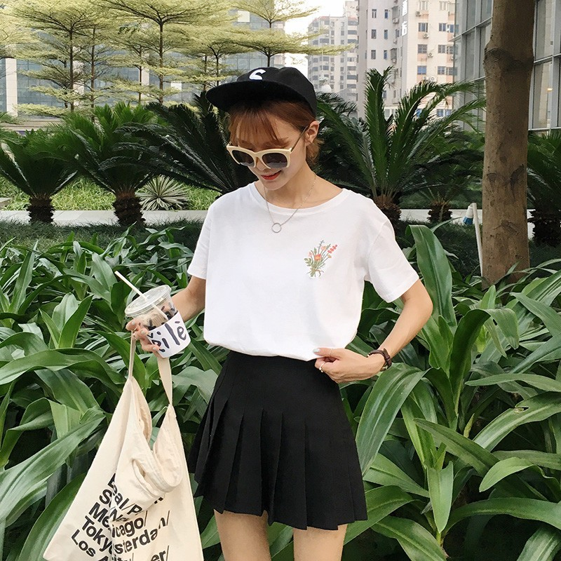 HTB1cX 1NpXXXXaoXVXXq6xXFXXXL - Japanese Brief Flower Embroidery Women T shirt PTC 346