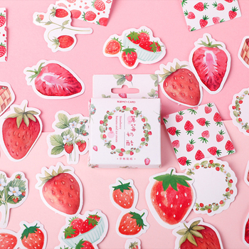 45PCS/PACK Kawaii Cute Strawberry Sticker Marker Planner Diary School Stationery DIY Stickers Scrapbooking Bullet Journal sl1952 45pcs pack kawaii life small things label stickers cute diary decoration scrapbooking diy seal sticker stationery free shipping