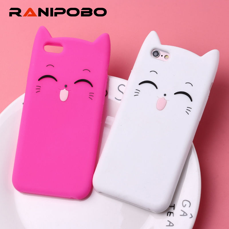Buy Ultra thin Lovely cat Cute Cartoon Phone Case For iPhone X 5 5S SE 6 6S Plus 7 7Plus 8 8Plus Fashion Soft TPU Clear Back Cover for only 1.83 USD
