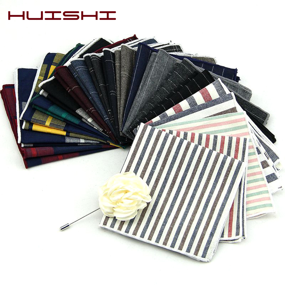 HUISHI High Quality Striped Check Cotton Pocket Square For Men Suits Cotton Hankerchief Business Hanky Solid Handkerchiefs