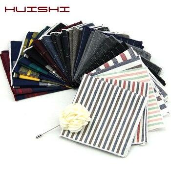 цена HUISHI High Quality Striped Check Cotton Pocket Square For Men Suits Cotton Hankerchief Business Hanky Solid Handkerchiefs онлайн в 2017 году