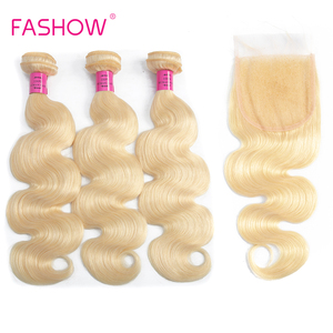 613 Blonde Color Brazilian Body Wave Hair Weave 3Bundles With Closure 10-28inch 100% Brazilian Remy Human Hair Extension