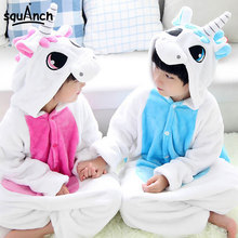 Kids Onesie Unicorn Rose Blue Pegasus Animal Kugurumi Boy Girl Twin Soft Overall Lovely Festival Party Pajama Flannel Jumpsuit