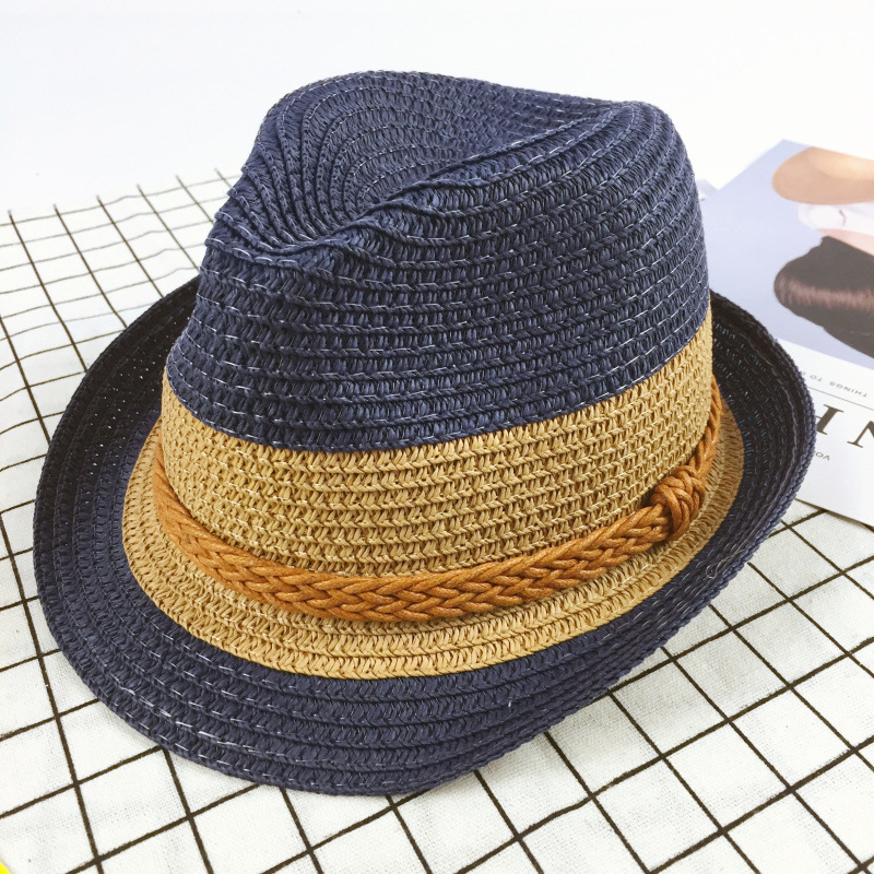 73e2d3d37b8bc Summer Style Child Sun hat Beach Sunhat Fedora hat Trilby Straw panama Hat  boy girl Gangster Cap Fit For Kids Children Women Men-in Hats   Caps from  Mother ...