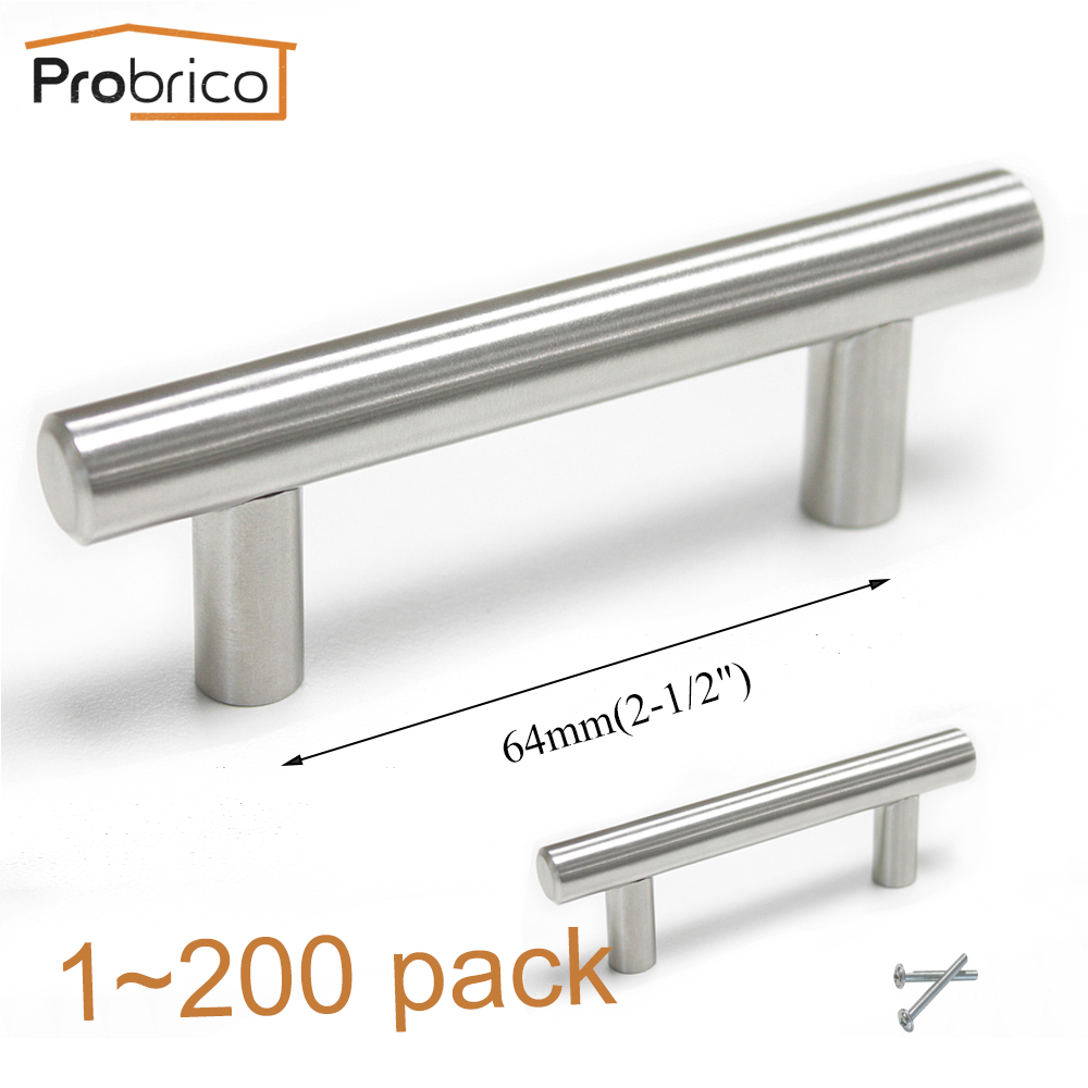 Probrico Kitchen Cabinet T Bar Handle PD201HSS64 Stainless Steel Diameter 12mm Hole to Hole 64mm 2.5 Furniture Drawer Knob Pull