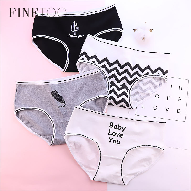 Girls Panty Fashion Letter Panties For Women Cotton Underwear Striped Cactus Pink Briefs Fashion Female Lingerie Soft Underpants