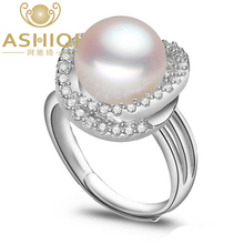 ASHIQI Natural 925 Sterling Silver ring Freshwater pearl rings for women weddings & events  pearls  jewelry
